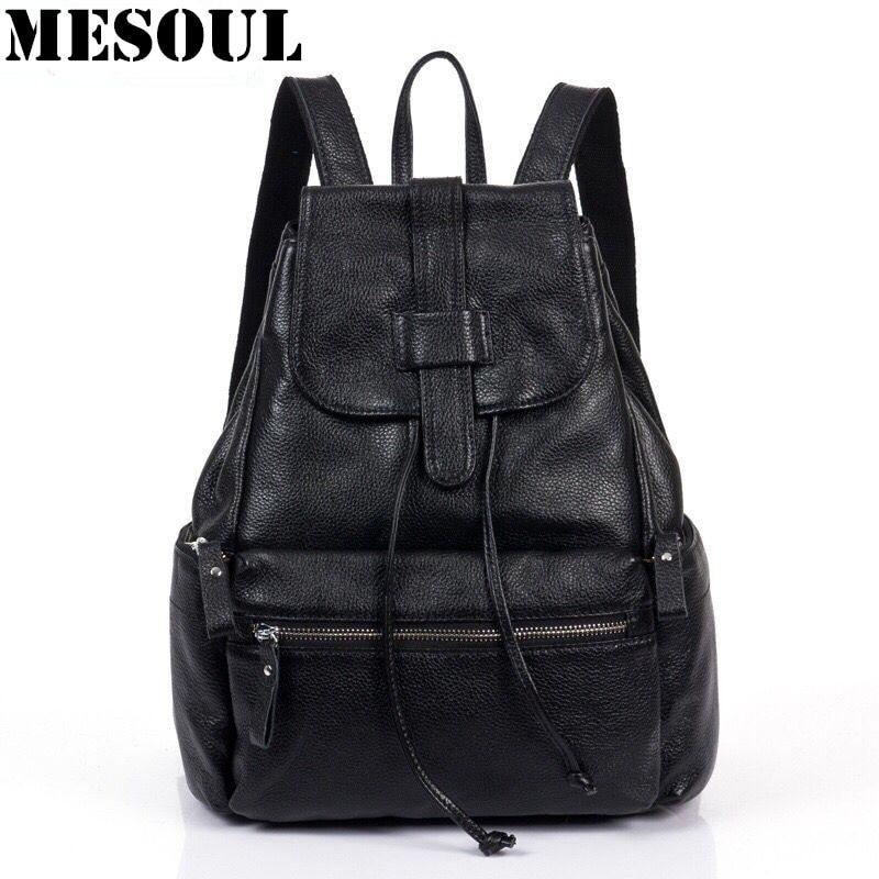 ФОТО Vintage Genuine Leather Backpack Women Bag High Quality Design Dollar Price Shoulder Bag Ladies Casual school bags for teenagers