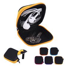 New Portable Mini Zipper Hard Headphone Case PU Leather Earphone Storage Bag Usb Cable Earbuds Pouch box for Headphone