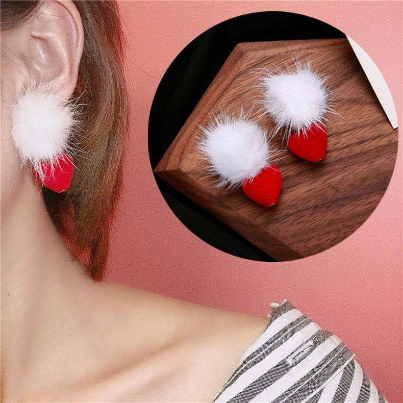 Korea Sweety Cute White Pom Pom Ball Earrings for Women Grils Pompom Red Love Heart Drop Earring Jewelry Valentines Day Gift