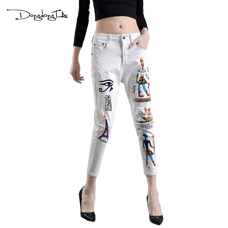 Dongdongta nové dámské kalhoty 2017 nový originální design letní kotníkové kalhoty uprostřed pasu malované umyté módní dívky džíny