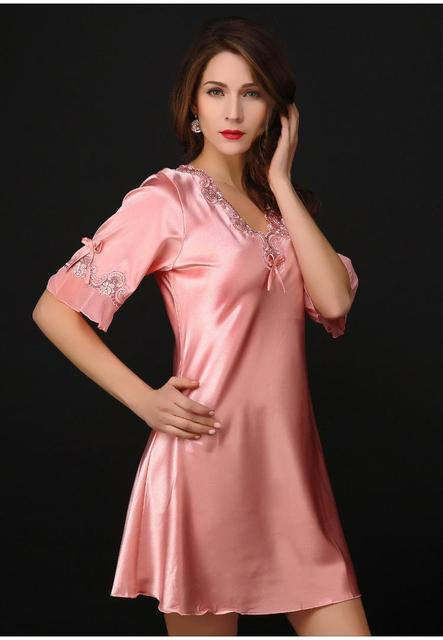 cbd282d450 Victoria Sexy Silk Night Dress Lace Plus Size Nightgown Pijama Short Sleeve  Pyjamas Women Nightwear Sleepwear