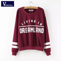 Sping Kawaii Pullovers 2016 High Street Autumn Women Casual Tops Long Sleeve Wine Red Round Neck