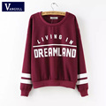 Spring Kawaii Pullovers 2017 High Street Women Casual Tops Long Sleeve Wine Red Round Neck Letters Print Women Hoodie Sweatshirt