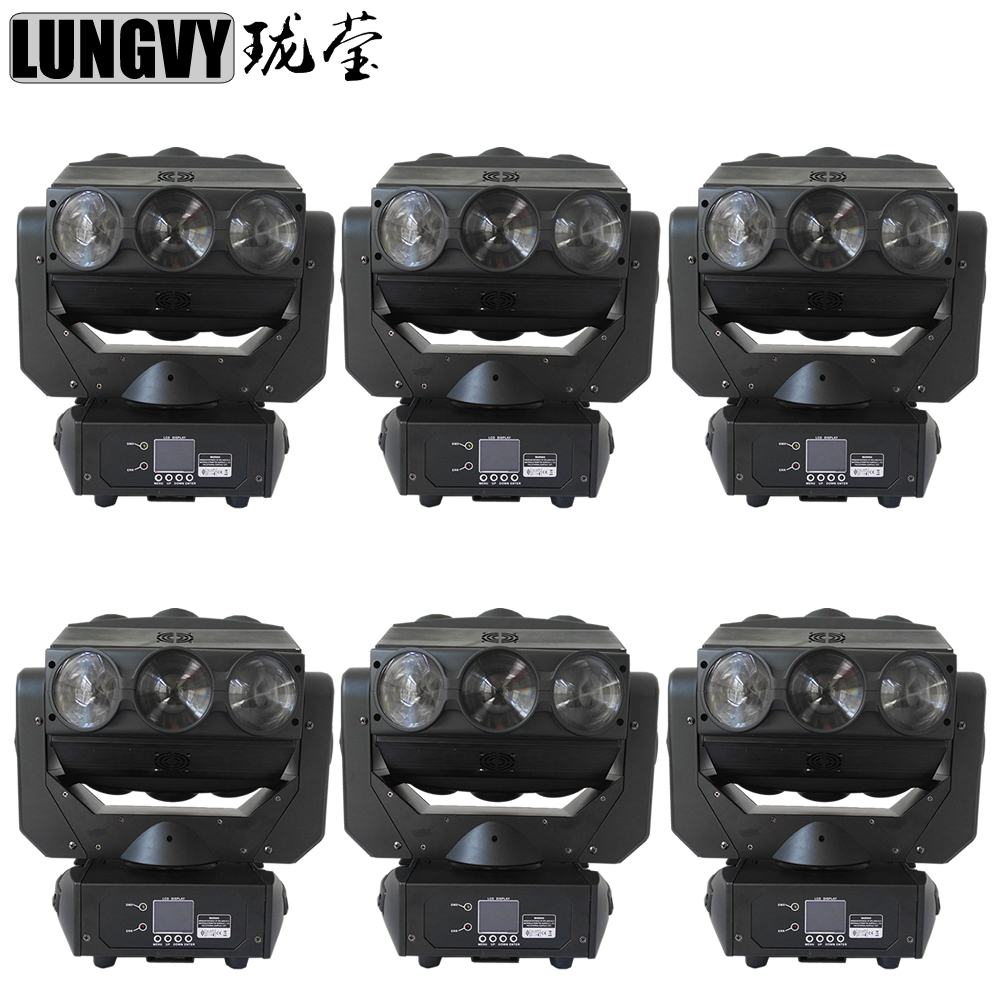 Free Shipping 6pcs/lot 9X12W CREE Spider Moving Head Lights LED Disco Club China Party Dj Stage Light