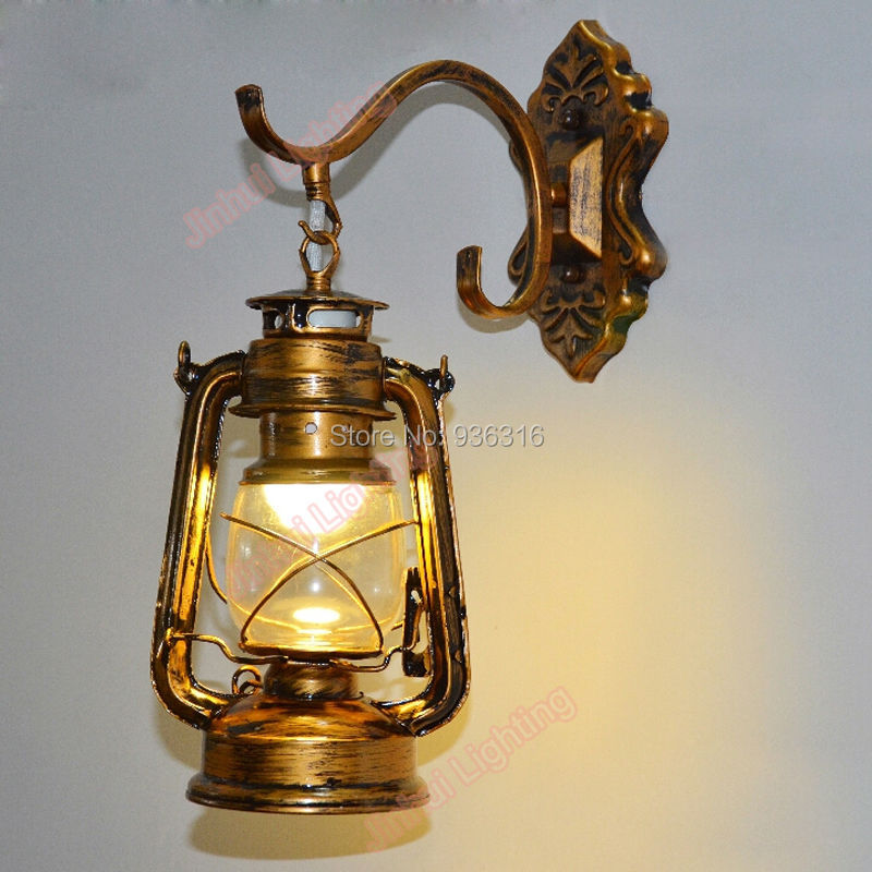 antique Copper Vintage Lantern Wall Lamp Personalized Kerosene Lamp Fashion Iron Wall Lights ...