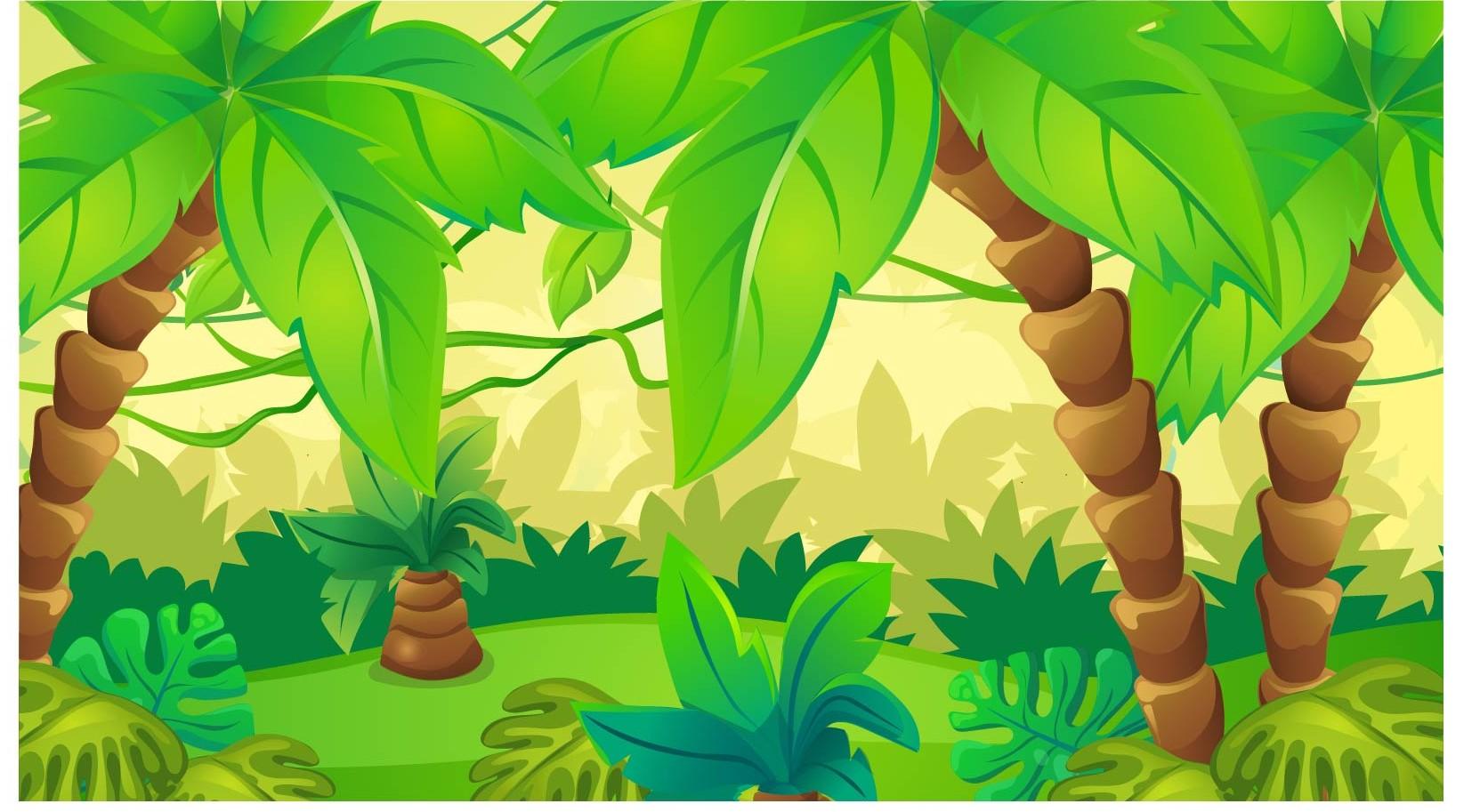 Cartoon Green Cute Forest Rainforest Jungle Theme Backdrop