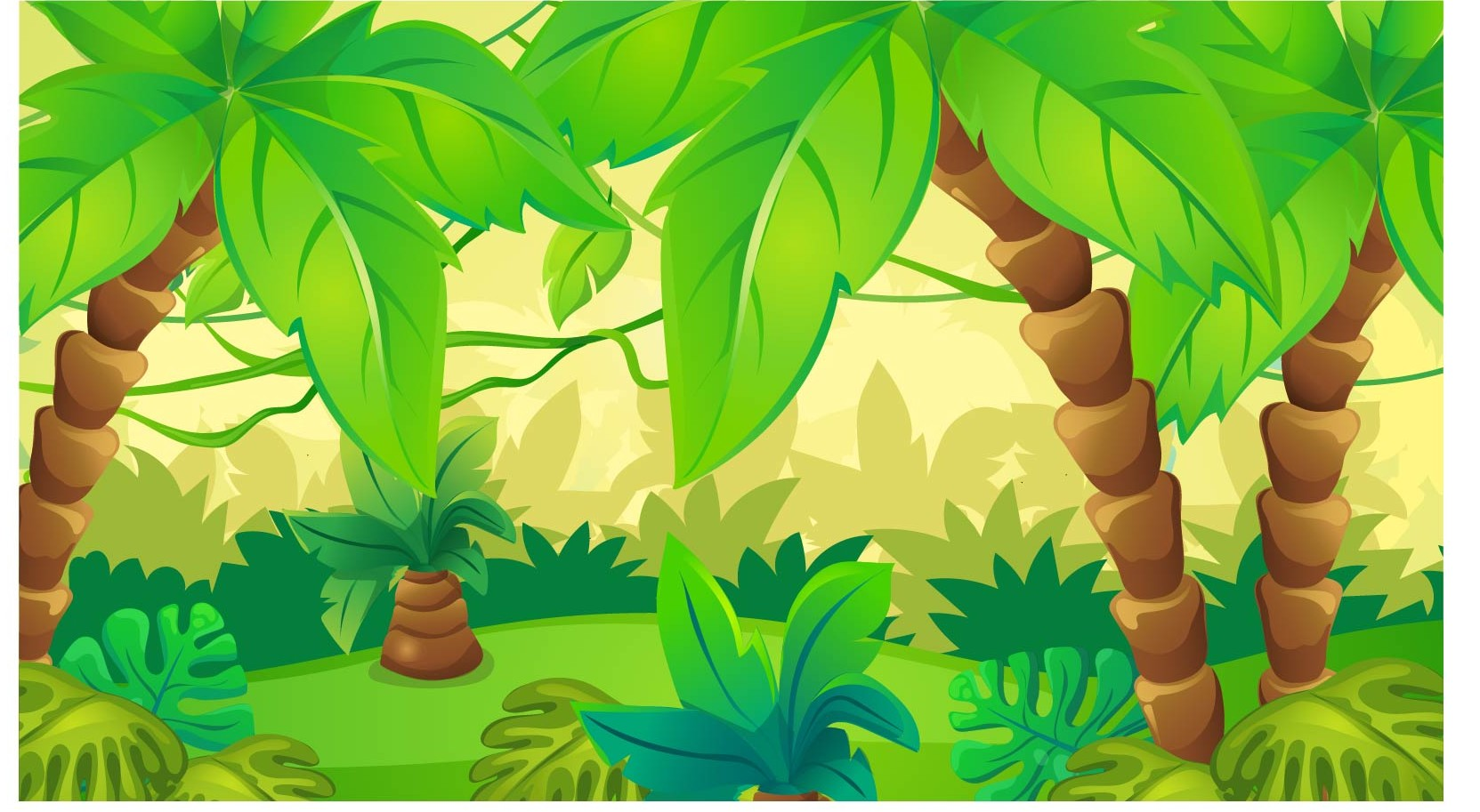 Monkeys And Bananas Cute Wallpaper Cartoon Green Cute Forest Rainforest Jungle Theme Backdrop