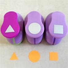 Livraison gratuite Triangle et cercle et forme carrée 1 pouce artisanat poinçon ensemble géométrie Scrapbook papier pour bricolage coupe trou poinçons 3 pièces