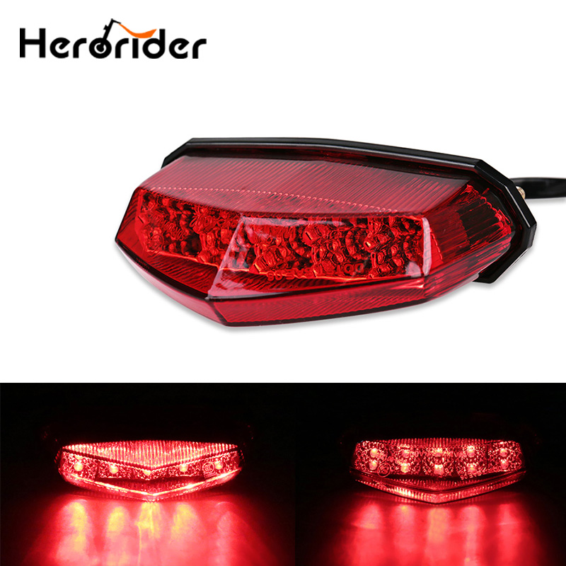 Motorcycle Tail Rear Light Red LED Rear Lamp Taillight Motorbike Brake Stop Lights Turn Signals for Honda Yamaha etc