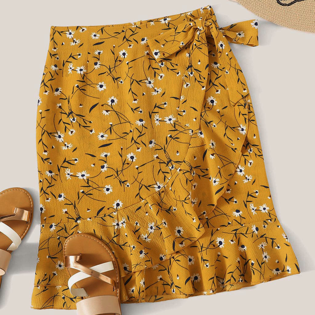 Fashion Women Skirt Robe Femme Casual Foral Printed Skirts Princess Outfits Exquisite Bandage Bow Girls Bodycon Ruffles Skirt