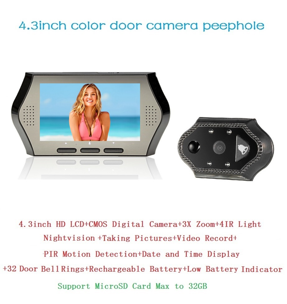 ФОТО 4.3 inch video peephole door camera wireless 0.3M pixels camera IR night vision PIR Motion Sensor 32 Rings 3X Zoom peephole door