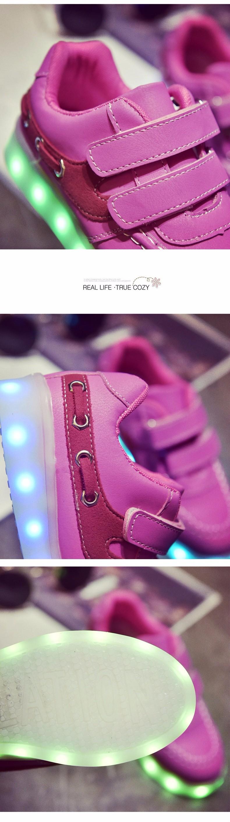 Kid USB Charging LED Light Shoes Soft Net Casual Boy Girl Luminous Sneakers Antiskid Bottom Children Shoes Tenis Led Infantil (10)