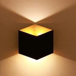 Thrisdar 10W zewnętrzna Wateproof LED kinkiet aluminium W górę W dół Cube ganek ściana światło balkon Hotel willa na ścianę W korytarzu lampy