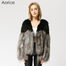 CR058 knit knitted Real silver fox & rabbit fur coat jacket overcoat Russian women's winter warm fur coat ourwear