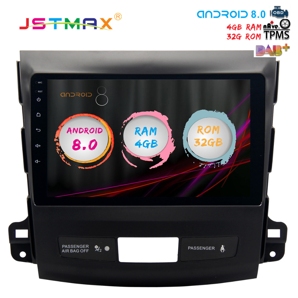 JSTMAX 9 Android 8.0 Car GPS Radio Player for Mitsubishi Outlander 2007-2013 with Octa Core 4GB+32GB Auto Stereo Multimedia