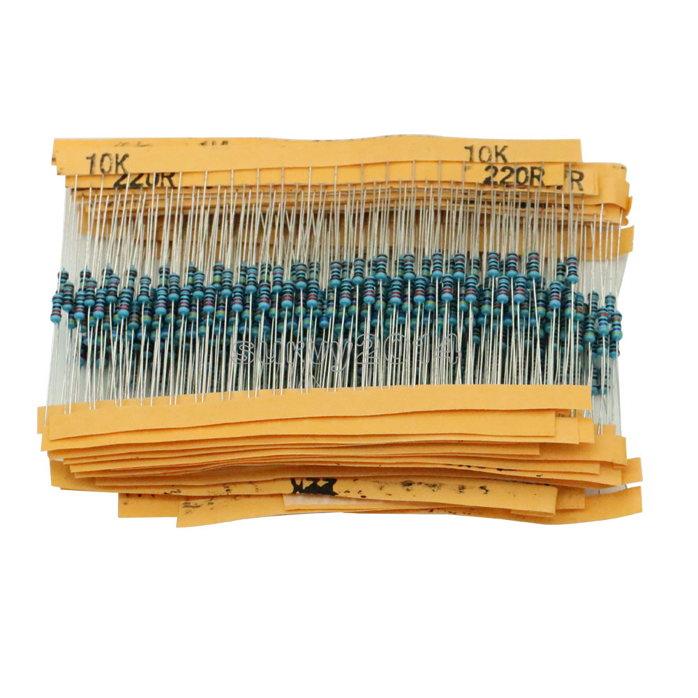 1 Pack 400Pcs 1/4w Resistance 1% Metal Film Resistor Resistance Assortment Kit Set 20 Kinds Each 20Pcs