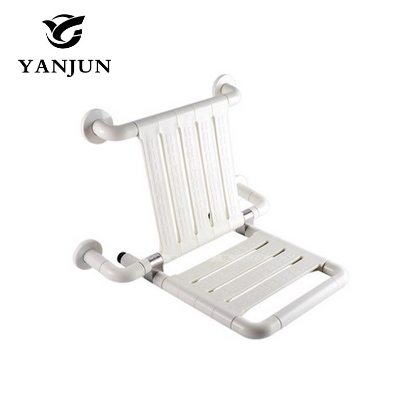 Yanjun  Wall Mounted Bath Shower Seat With Legs Folds Away Spa Bench Public Arears Saving Space YJ-2032 yanjun wall mounted folding shower seat with legs water proof relaxation shower chair yj 2035
