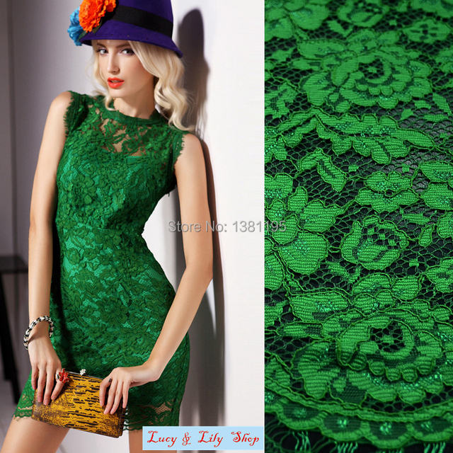 7 Colors Available French Corded Chantilly Lace Fabric With Eyelash 150cm Width Green Red Fushia Black