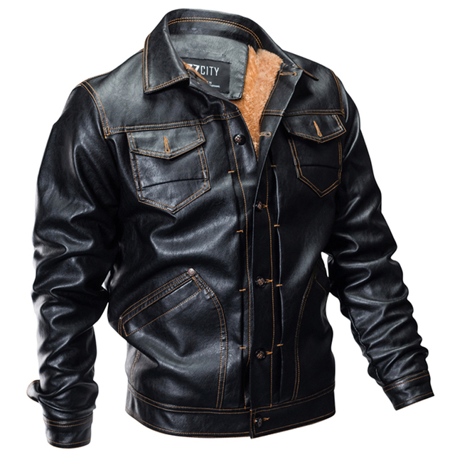 0102d29f5 US $38.75 32% OFF|Military Winter Pilot Faux Mens Leather Jacket Thick Warm  Bomber Jacket Outwear Fleece Motorcycle Jacket Clothing Dropshipping-in ...