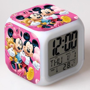 New cartoon Mickey mouse alarm clock reloj despertador Kids Cartoon night light led digital clock electronic desk clock(China)