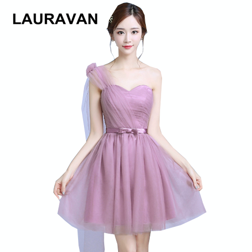 Robe De Soiree Elegant 2019 New Sweet 16 Blush One Shoulder Bridesmaid Gown Dresses Tulle Ball Gowns Short Dress For Weddings