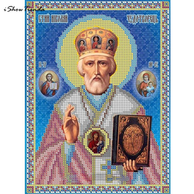 1 PZ 20 cm * 25 cm 5D Diamante Diy Diamante Mosaico Leader Icona Religione Vero