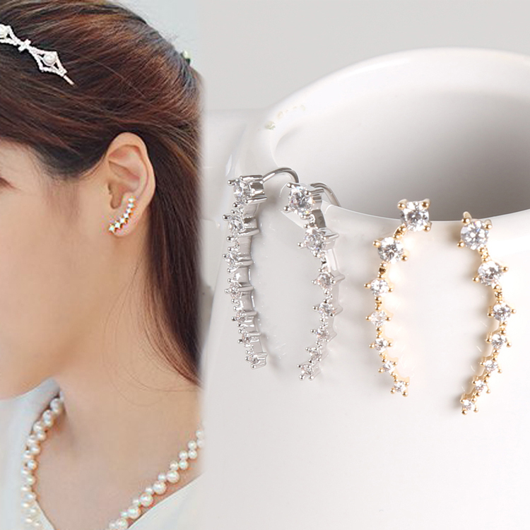 1 Pair Element Crystal Woman Earrings Ear Hook Color Gold Silver Plated Charming Jewelery Accessories EAR-0371