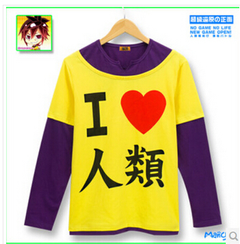 Anime hot selling no game no life cosplay costume long sleeve tshirt I love humanity tshirt tee
