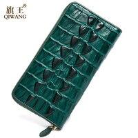 2016 Genuine Leather Women Wallets Crocodile 3D Head Fashion Trending Purse Wallet Alligator Pattern Long Wallet