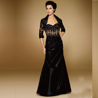 Sheath Black Black Taffeta Mother Of The Bridal Dresses Mother Groom Custom Made Evening Gowns