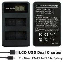 EN-EL14 Battery charger ENEL14 en el14a LCD Dual USB Chargers for Nikon camera D3100 D3200 D3300 D5100 D5200 D5300 P7100 P7700 4pcs en el14 1 2ah camera battery for nikon df d90 d300 d5300 d5200 d5100 d3300 d3200 d3100 for coolpix p7100 p7200 p7700 p7800