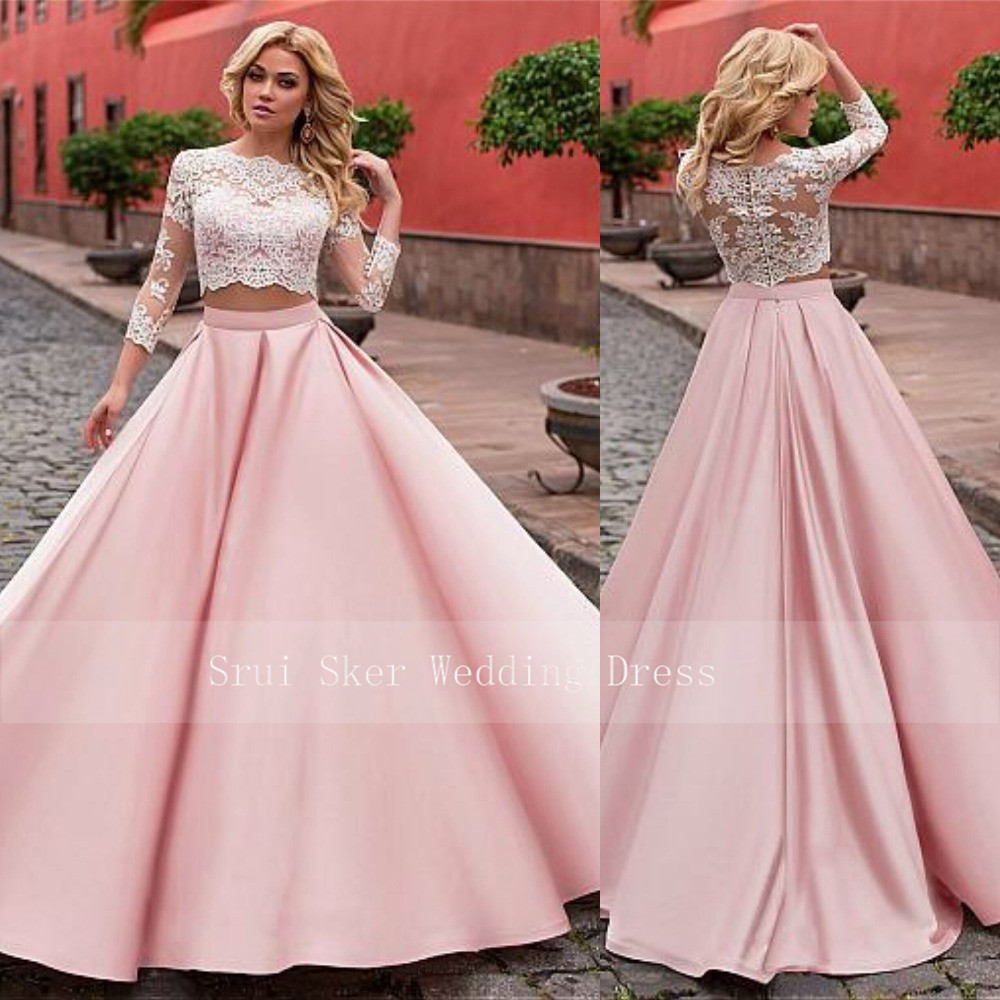 Elegant Two-piece Prom   Dresses   Fashionable Tulle & Satin Jewel Neckline A-Line Long   Evening     Dress   Prom Gowns Custom Made 2 piec