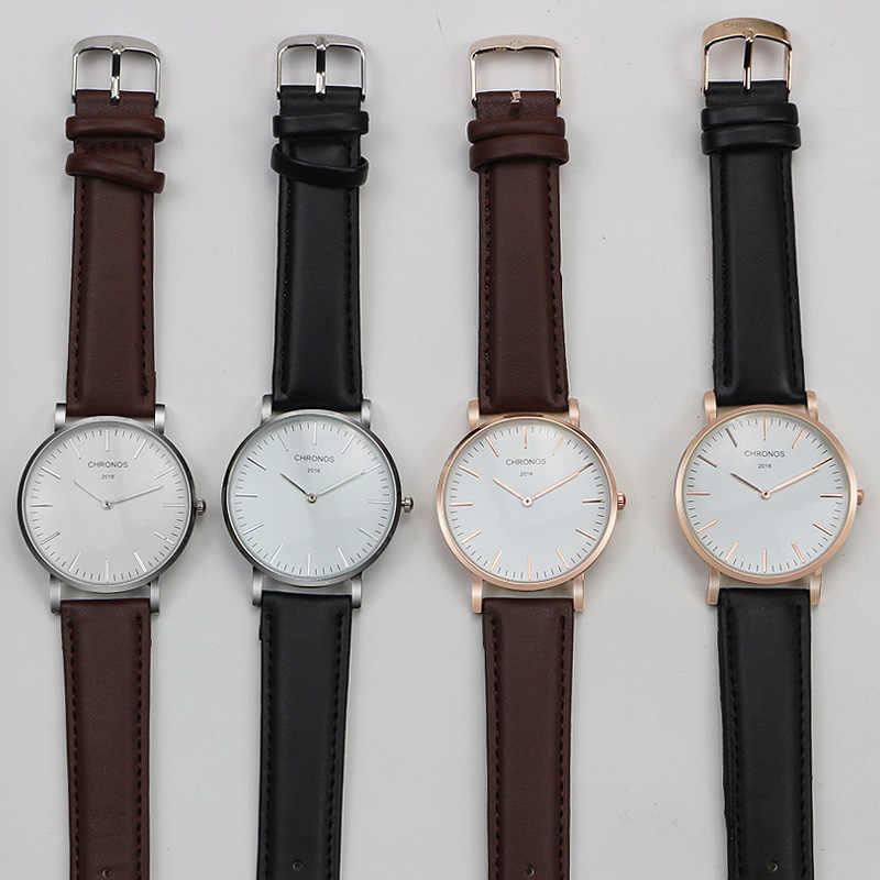 CHRONOS Männer Frauen Paar Uhren Einfache Dünne Beiläufige Quarz Nylon Uhr Weiß Analog Zifferblatt Uhren Mujer Montre Femme Horloge
