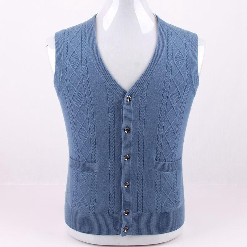 Grande taille 100% cachemire argyle knit hommes occasionnels débardeurs pull gilet cardigan unique poitrine L'UE/S105-4XL135 au détail en gros