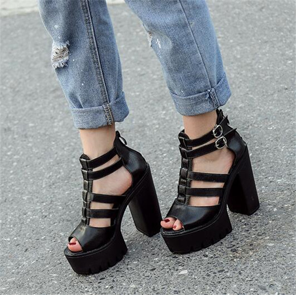 756052ed2a8 Chunky Women Sandals New PXELENA Peep Punk Toe Block Party Square Female  High Platform Gladiator Shoes ...