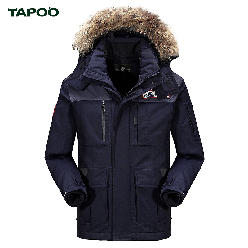 ФОТО TAPOO Winter Men Jacket With Fur Collar Thick Windbreaker Mens Jackets And Coats With Hooded Military Style Army Green