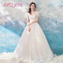 AXJFU princess v neck white lace wedding dress luxury vintage flower beading crystal 608t