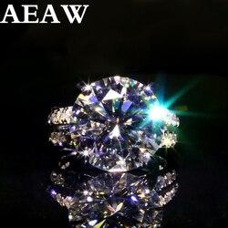 AEAW 10k białe złoto lub srebro 10ct 5carat średnica GH kolor Moissanite ślub pierścionek zaręczynowy dla kobiet Solitare pierścień złoty