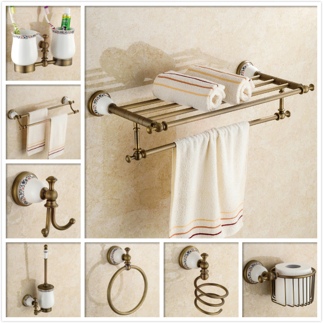 Wall Mounted Copper Bathroom Accessories Nichel Brushed Towel Rack Shelf With Bar