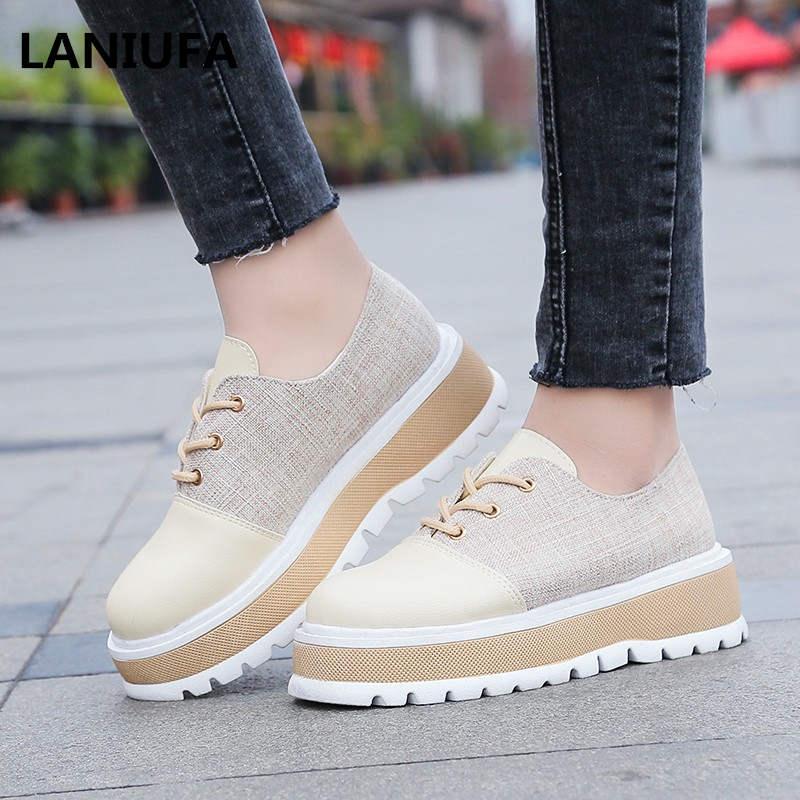 new Spring Platform girls footwear flats Operating girls Sneakers Breathable Lace-Up Comfy informal trainers Girls mujer #998 Girls's Flats, Low-cost Girls's Flats, new Spring Platform girls footwear flats Operating...