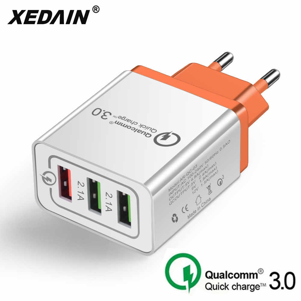 3 Port USB Kabel Charger Cepat/Telepon Charger Cepat 3.0 5 V/3A EU/US/Plug dinding Charger untuk Samsung Apple Iphone Sony Xiaomi Huawei
