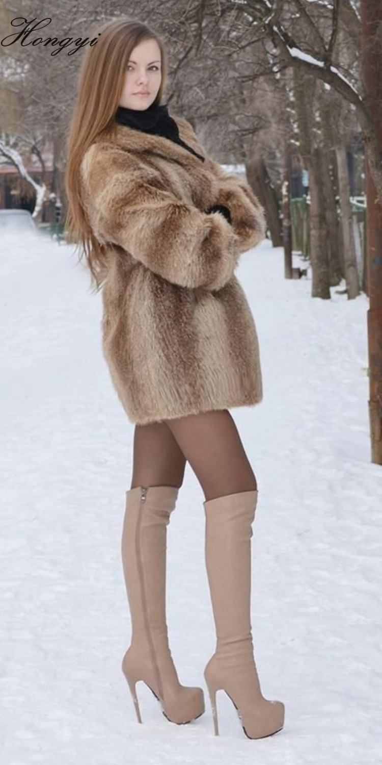 Hongyi new year gift nude color high quality knee high boots side zipper very high heel platform slim fit dress boots
