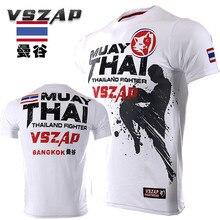 VSZAP Thailand BANGKOK Thai Fighting Fitness T-shirt Fight MMA Half Sleeve Tops UFC Sanda Martial Arts Sportswear Plus Size 4XL