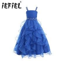IEFiEL dzieci dziewczyny haftowany kwiat łuk formalna strona suknia balowa księżniczka druhna ślub dzieci Tutu sukienka rozmiar 4 14Y