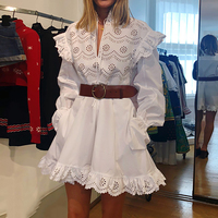 2019 Spring Floral Pattern Solid White Women Dress A line Stand Collar Lace Hollow Out Elegant Dress Flare Sleeve Mini Dress