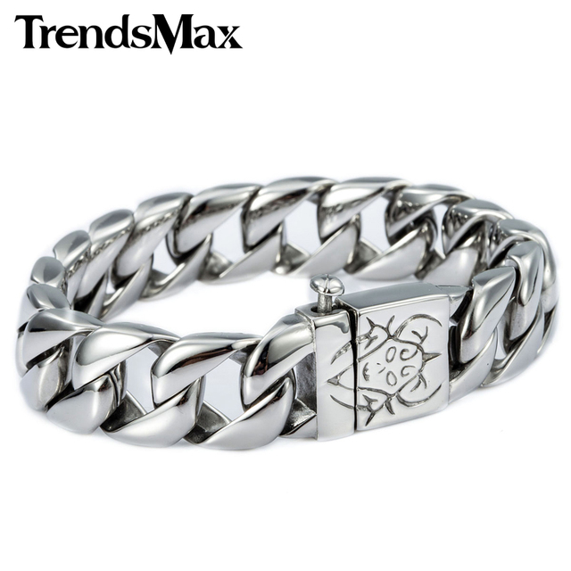 Trendsmax Customize Any Lengh 15MM Wide Curb Chain 316L Stainless Steel Bracelet  Men's BOYs Wholesale Jewelry HB04