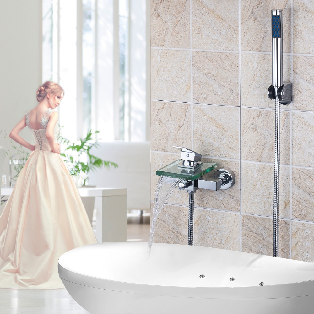 ФОТО Wall Mounted Single Handle Chrome  Waterfall Glass Spout Bathroom Faucet Set Hand Shower Tap Mixer Faucet