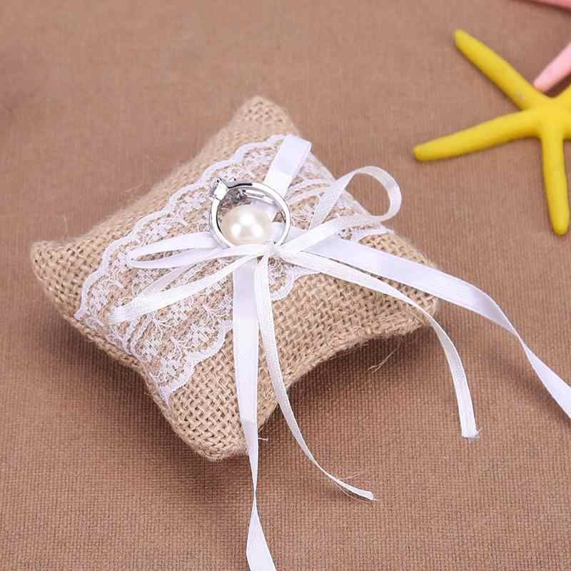 New Lace Bow Ring Pillow Wedding for Wedding Engagement Decoration Jewelry Rings Cushion Vintage Burlap Jute Cushion for Wedding