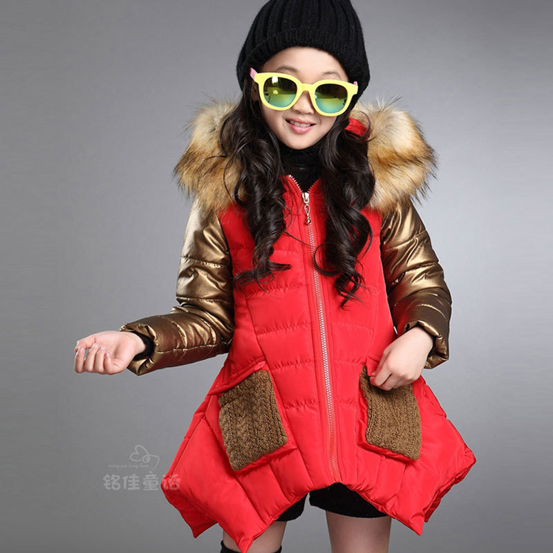 2015 girl children's winter clothes cotton-padded jacket coat for girls kids clothing warm outdoors hooded fur outerwear & coats girls jacket with sashes cotton padded girls winter coat 2017 brand hooded wind proof kids winter jacket children outerwear