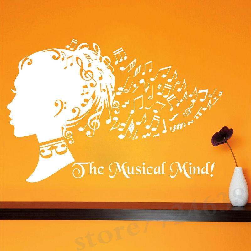 The Musical Mind Art Musical Note Hair Girl Wall Sticker Creative ...